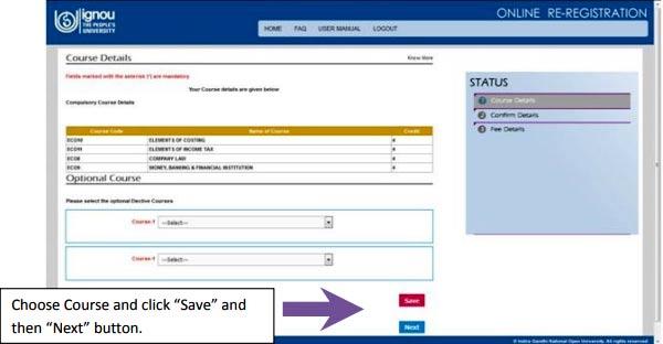 ignou online re registration select courses