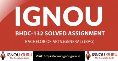 IGNOU BHDC 132 Solved Assignment